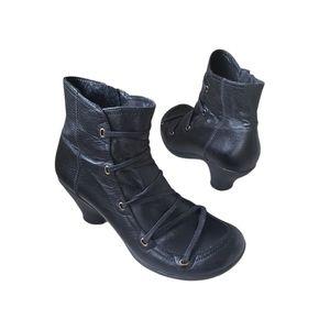 MIZ MOOZ  Claudia Black Leather Ankle Boot Size 40